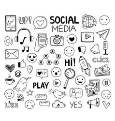 doodle social media icons drawing symbols vector image