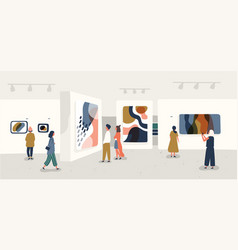 Exhibition visitors viewing modern abstract vector