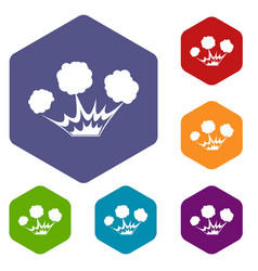 explosion icons set hexagon vector image