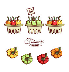 farmers market bell peppers vector image