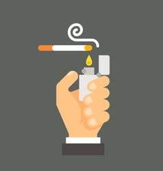 Flat design hand holding lighter and cigarette vector image
