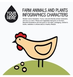 Flat design icons with farm animal - chicken vector image