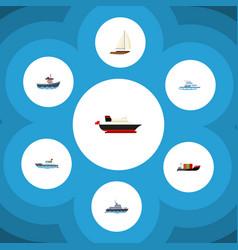 flat icon vessel set of tanker transport yacht vector image