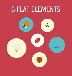 flat icons table tennis ball golf and other vector image