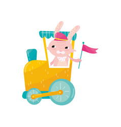 Funny pink rabbit in peaked cap holding flag in vector