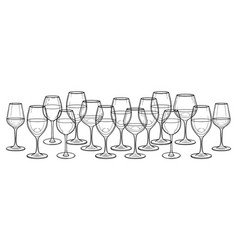 Graphic row of wine glasses isolated on white vector
