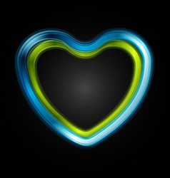 green and blue glossy heart on black background vector image