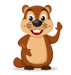 groundhog stands on a white background and waving vector image
