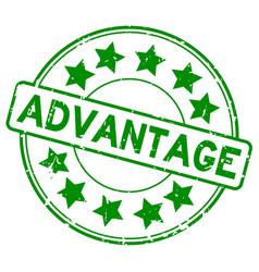 Grunge green advantage with star icon round vector