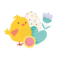 happy easter cute chicken heart egg flowers vector image
