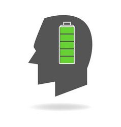 Human head with full battery indicator vector