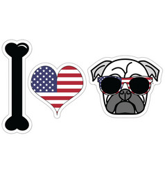 I love pugs with American symbols vector image