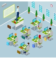 Isometric computer classroom with teacher vector