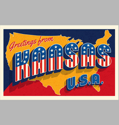 july 4th kansas usa retro travel postcard vector image