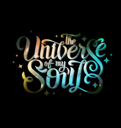 Lettering typography design on space background vector