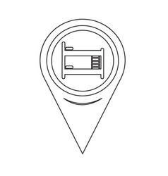 map pin pointer bed icon vector image