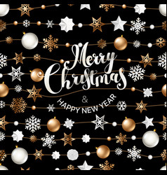 Merry christmas greeting card with shining objects vector