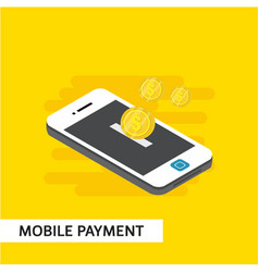 Mobile payment isometric template design vector