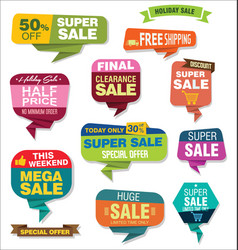 Modern origami sale stickers and tags collection 5 vector