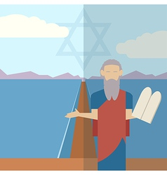 Moses and sea icon 1 vector image