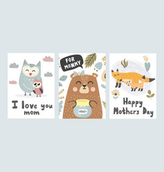 Mother s day greeting cards collection vector