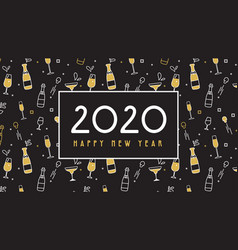 new year 2020 banner pattern with champagne vector image