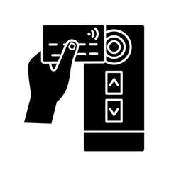 Nfc credit card reader glyph icon vector