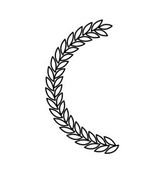 Olive branch half bow in monochrome color vector