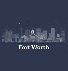 outline fort worth texas city skyline with white vector image