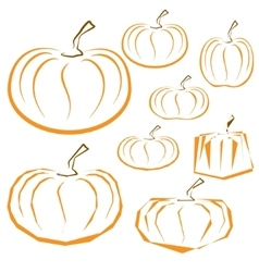 outline pumpkins set on white background vector image