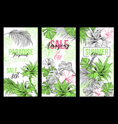 paradise sale or offers vertical banners vector image