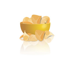 potato chips bowl isolated on white vector image