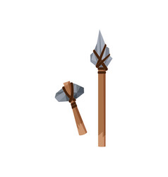 Prehistoric stone axe and spear stone age symbols vector