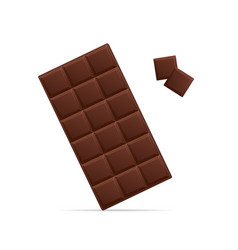 Realistic detailed 3d chocolate and pieces vector