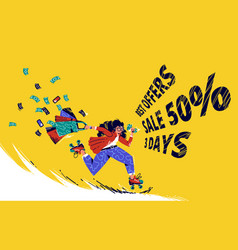 sale offer banner with run girl on rolling skates vector image