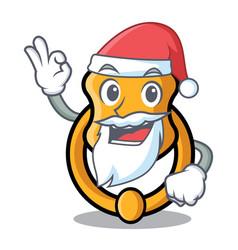Santa vintage door knocker on mascot cartoon vector