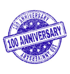 scratched textured 100 anniversary stamp seal vector image