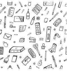 seamless pattern of doodle stationery vector image