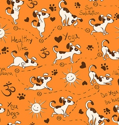 Seamless pattern with dog doing yoga position of vector image