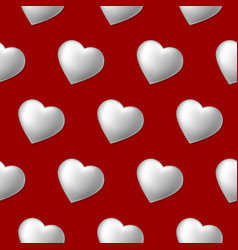 seamless pattern with volume hearts isolated on vector image