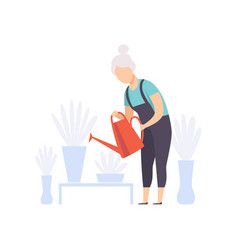 Senior woman character watering flowers with can vector