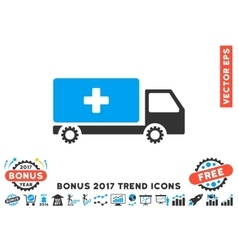 Service Car Flat Icon With 2017 Bonus Trend vector