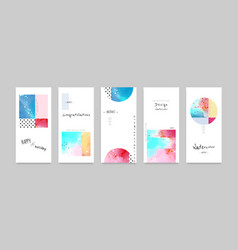 set hand-painted watercolor card layouts and vector image