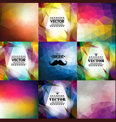 set nine colorful abstract geometric background vector image