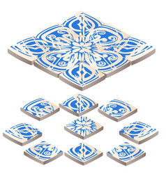 set of floor tile with ornament blue color in the vector image