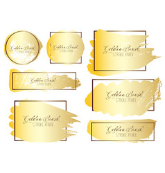 set of golden brush stroke frame vector image