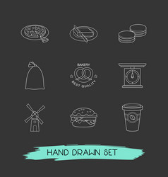 Set of pastry icons line style symbols with pizza vector