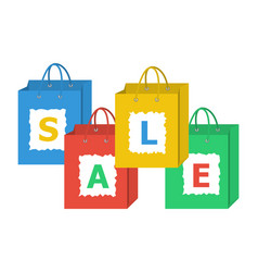 Set of shopping bags with letters of sale word on vector