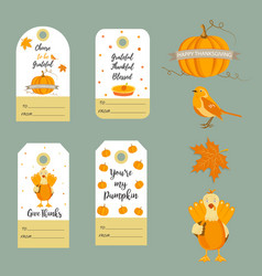 Set thanksgiving backgrounds badgestags vector