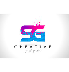 Sg s g letter logo with shattered broken blue vector